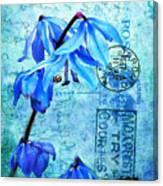 Blue Bells On Vintage 1936 Postcard Canvas Print