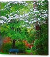 Blue Bench In Park Canvas Print