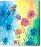 Blue Bird And Flowers Canvas Print