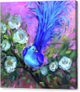 Blue Bird Christmas Wish Canvas Print