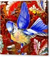 Blue Bird Leaves Canvas Print