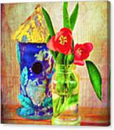 Blue Birdhouse And Red Tulips 2 Canvas Print