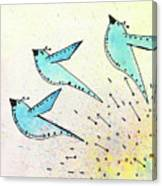 Blue Birds In Flight Canvas Print