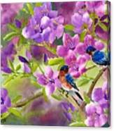 Blue Birds With Azalea Canvas Print