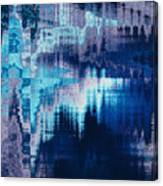 blue blurred abstract background texture with horizontal stripes. glitches, distortion on the screen broadcast digital TV satellite channels Canvas Print