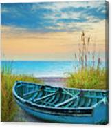 Blue Boat At Dawn Watercolors Painting Canvas Print