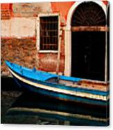Blue Boat Venice Italy Canvas Print