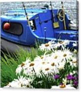 Blue Boat With Daisies Canvas Print