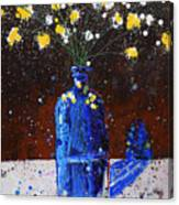 Blue Bottle And Flowers Canvas Print