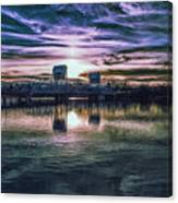 Blue Bridge At Sunset Canvas Print