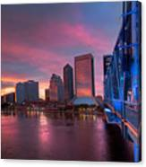 Blue Bridge Red Sky Jacksonville Skyline Canvas Print
