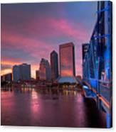 Blue Bridge Red Sky Jacksonville Skyline Canvas Print