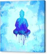 Blue Buddha Watercolor Painting Canvas Print