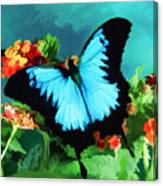 Blue Butterfly On Lantana Plant Oil Painting Canvas Print