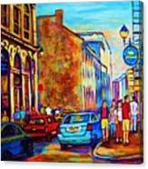 Blue Cars At The Resto Bar Canvas Print