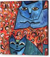 Blue Cats Canvas Print