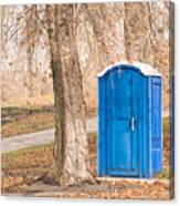 Blue Chemical Toilet In The Park Canvas Print
