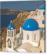 Blue Churches Of Santorini Canvas Print