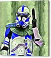 Blue Commander Stormtrooper At Work - Da Canvas Print