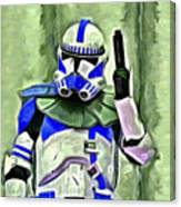 Blue Commander Stormtrooper At Work - Pa Canvas Print