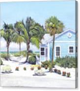 Blue Cottage On Siesta Key Beach, Access 3 Canvas Print