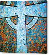 Blue Marbled Cross Canvas Print
