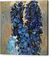 Blue Delphiniums For Nancy Canvas Print