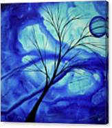 Blue Depth Abstract Original Acrylic Landscape Moon Painting By Megan Duncanson Canvas Print