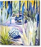 Blue Desert Botanical Desert Phoenix Canvas Print
