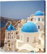 Blue Domed Churches Santorini Canvas Print
