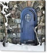 Blue Door In February Canvas Print