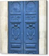 Blue Door In Paris Canvas Print