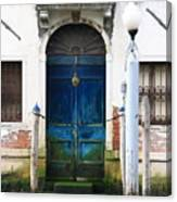 Blue Door on Grand Canal in Venice Canvas Print