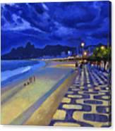 Blue Dusk Ipanema Canvas Print