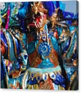Blue Feather Carnival Costume Full Canvas Print