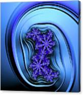 Blue Fractal Art Curved And Elegant Canvas Print