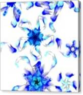 Blue Fractal Flowers Canvas Print