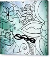 Blue Funky Flower Doodles Canvas Print