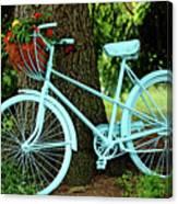 Blue Garden Bicycle Canvas Print