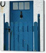 Blue Gate And Door On White House Canvas Print