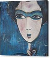 Blue Geisha Love Detail Canvas Print