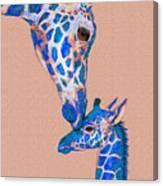 Blue Giraffes 2 Canvas Print