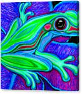Blue Green Frog Canvas Print