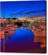 Blue Harbor Red Neon Canvas Print