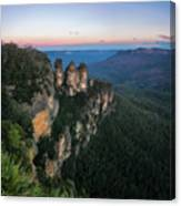 Blue Haze At Sunrise At Ecco Point In Blue Mountains Canvas Print