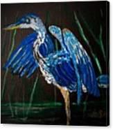 Blue Heron At Night Canvas Print