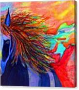 Blue Horse In Red Canyon Canvas Print
