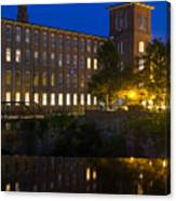 Blue Hour Over The Cocheco Mills Dover New Hampshire Canvas Print