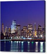 Blue Hour Panorama New York World Trade Center With Freedom Tower From Liberty State Park Canvas Print
