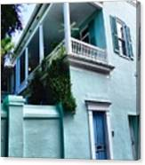 Blue House With A Blue Door Canvas Print